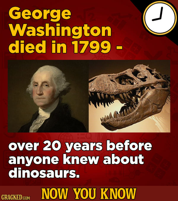 George Washington died in 1799- over 20 years before anyone knew about dinosaurs. NOW YOU KNOW CRACKED COM