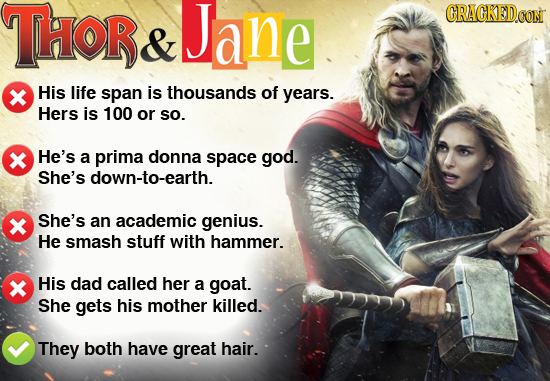 THOR Jane ORACKED.OON & His life span is thousands of years. Hers is 100 or So. He's a prima donna space god. She's down-to-earth. She's an academic g
