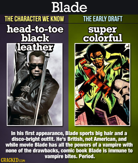 Blade THE CHARACTER WE KNOW THE EARLY DRAFT head-to-toe super black colorful leather In his first appearance, Blade sports big hair and a disco-bright
