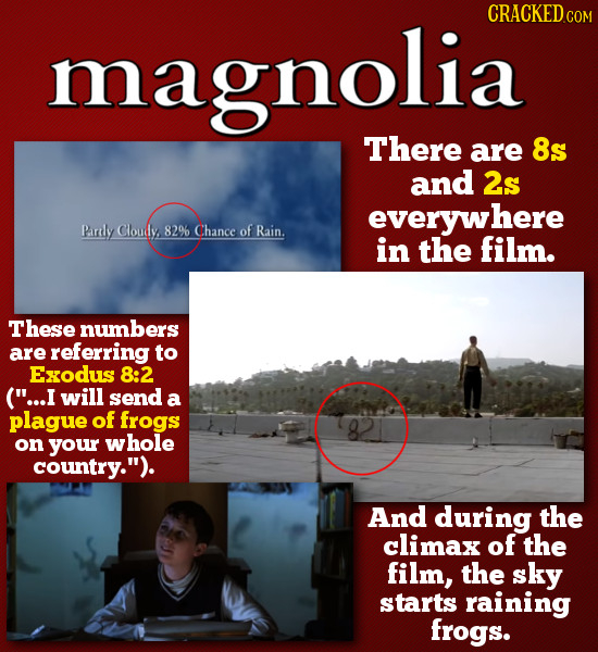 magnolia CRACKEDCO LLALL There are 8s and 2s everywhere Pardlly Cloudy 82% Chance of Rain. in the film. These numbers are referring to Exodus 8:2 (..