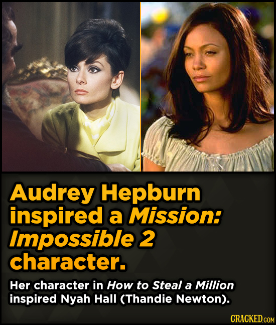Surprising Sources Of Inspiration For Your Fav Characters - Audrey Hepburn inspired a Mission: Impossible 2 character.