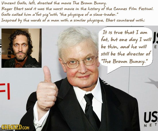 Vincent Gallo, let, directed the movie The Brown Bunny. Roger Ebert said it was the worst movie in the history of the Cannes Film Festival. Gallo call