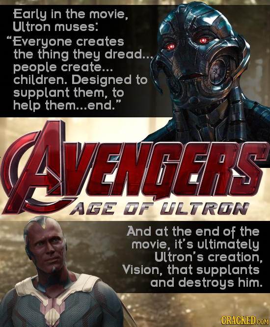 Early in the movie, Ultron muses: Everyone creates the thing they dread... people create... children. Designed to supplant them, to help them...end.