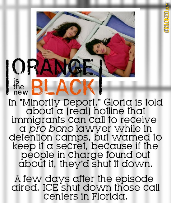 CRAGKEDDCON ORANGE is BLACK the new In Minority Deport, Gloria is told about a (real) hotline that immigrants can call to receive a pro bono lawyer