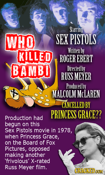 Starring WHO SEX PISTOLS Witten KILLED by ROGER EBERT BAMBO Directed by RUSS MEYER Producedby MALCOLM MCLAREN CANCELLED BY PRINCESS GRACE?? Production