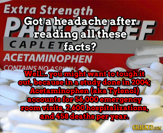 Extra Strength PG Got a headache after F reading all these CAPLET facts? ACETAMINOPHEN CONTAINS NO ASP Well... you might want to tough it out, because
