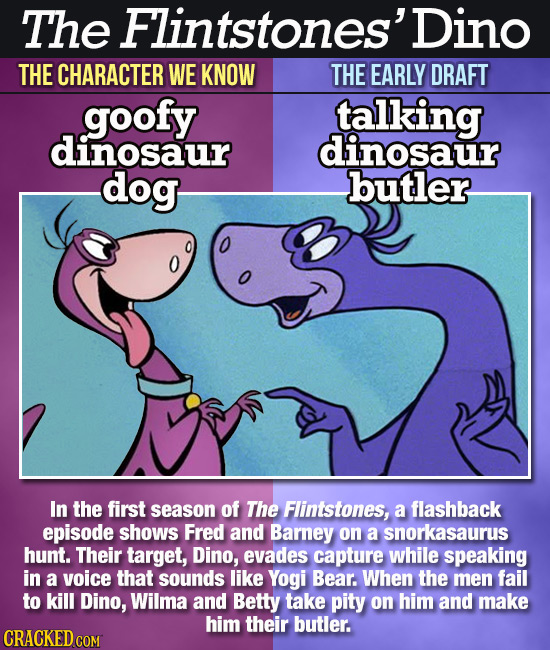 The Flintstones' Dino THE CHARACTER WE KNOW THE EARLY DRAFT goofy talking dinosaur dinosaur dog butler In the first season of The Flintstones, a flash