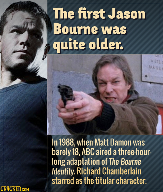 The first Jason Bourne was quite older. In 1988, when Matt Damon was barely 18, ABC aired a three-hour- long adaptation of The Bourne Identity. Richar