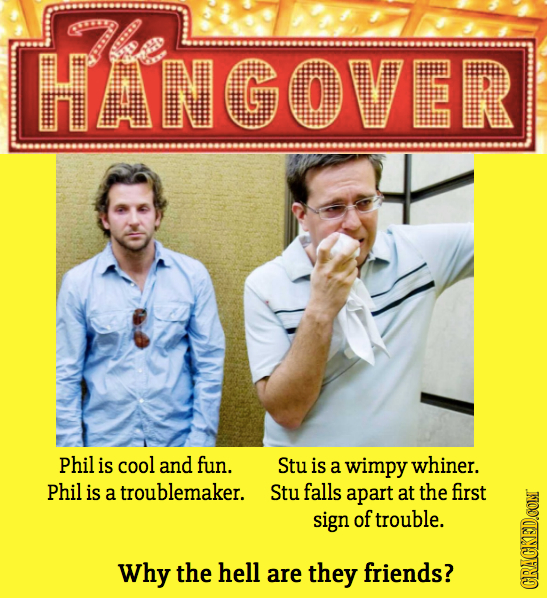 HANGOVER Phil is cool and fun. Stu is a wimpy whiner. Phil is a troublemaker. Stu falls apart at the first sign of trouble. Why the hell are they frie