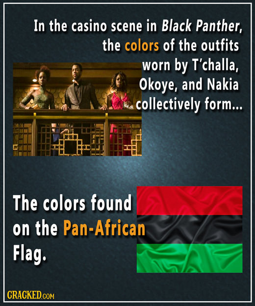 In the casino scene in Black Panther, the colors of the outfits worn by T'challa, Okoye, and Nakia collectively form... The colors found on the Pan-Af