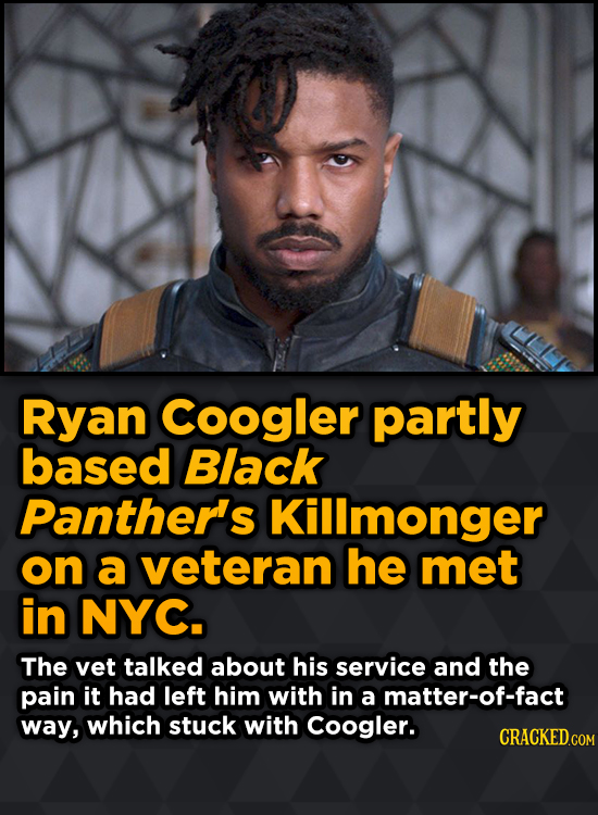 Surprising Sources Of Inspiration For Your Fav Characters - Ryan Coogler partly based Black Panther's Killmonger on a veteran he met in NYC.