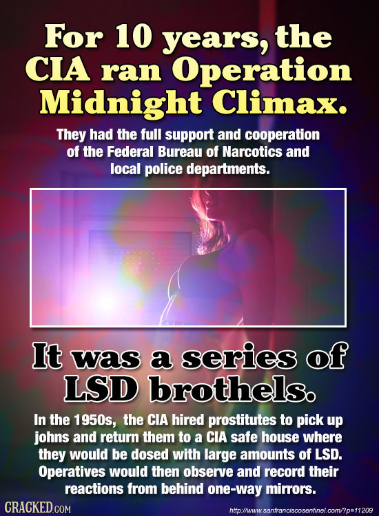 For 10 years, the CIA ran Operation Midnight Climax. They had the full support and cooperation of the Federal Bureau of Narcotics and local police dep