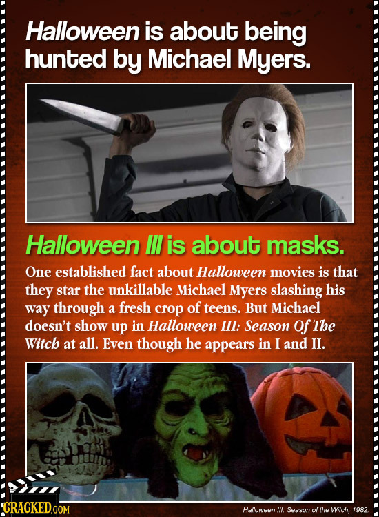 Halloween is about being hunted by Michael Myers. Halloween IL is about masks. One established fact about Halloween movies is that they star the unkil