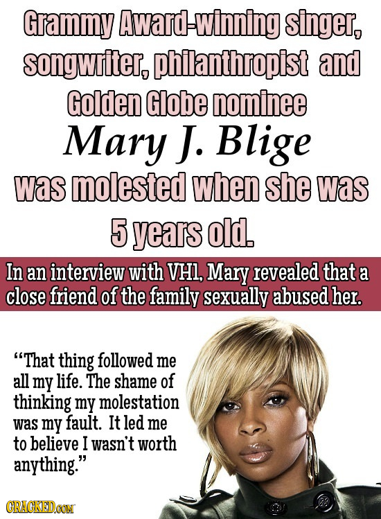 Grammy Award-winning singer, songwriter, philanthropist and Golden Globe nominee Mary J. Blige was molested when she was 5 years old. In an interview