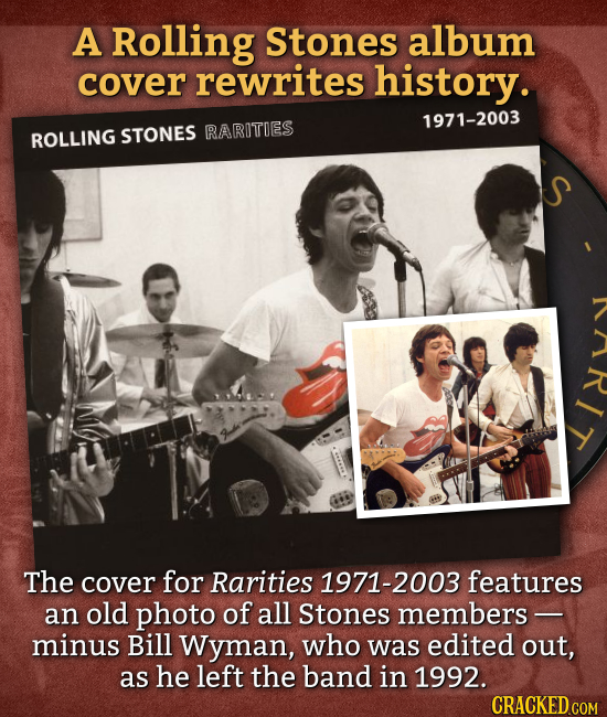 A Rolling Stones album cover rewrites history. 1971-2003 ROLLING STONES RARITIES The cover for Rarities 1971-2003 features an old photo of all Stones