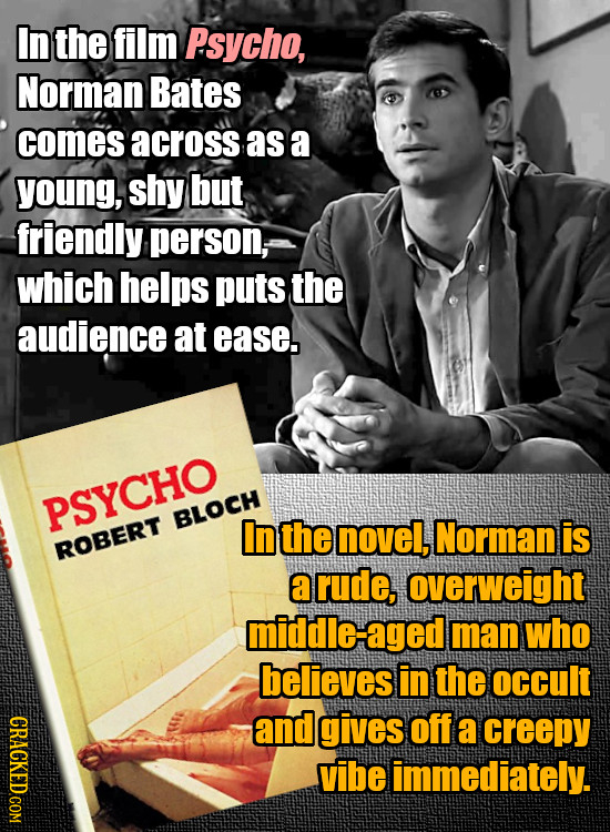 In the film Psycho, Norman Bates comes across as a young, shy but friendly person, which helps puts the audience at ease. PSYCHO BLOCH In the novel, N