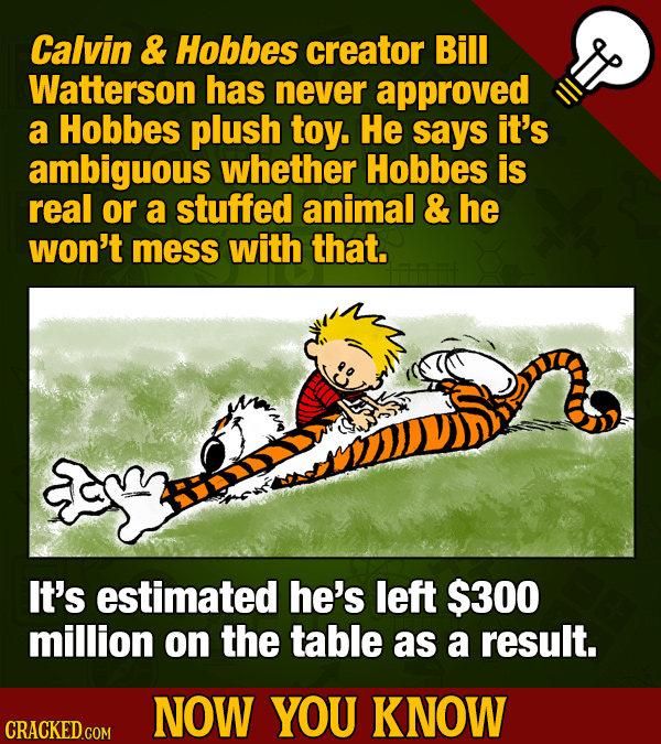 Calvin & Hobbes creator Bill Watterson has never approved a Hobbes plush toy. He says it's ambiguous whether Hobbes is real or a stuffed animal & he w