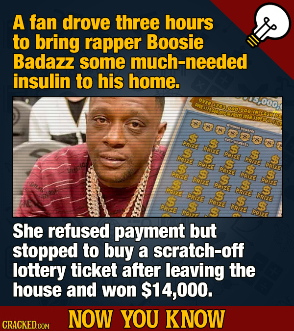 A fan drove three hours to bring rapper Boosie Badazz some uch-needed insulin to his home. 5,000 oVE $23000.000 IN CASNER PEIZES TR#E 3s00 S 8 S PRIzE