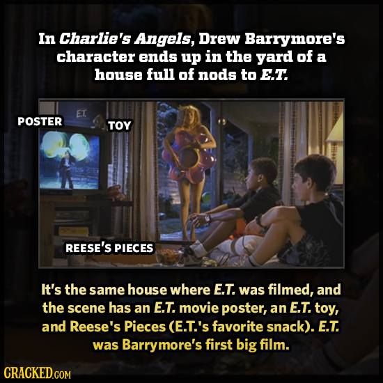 In Charlie's Angels, Drew Barrymore's character ends up in the yard of a house full of nods to E.T. ET POSTER TOY REESE'S PIECES It's the same house w