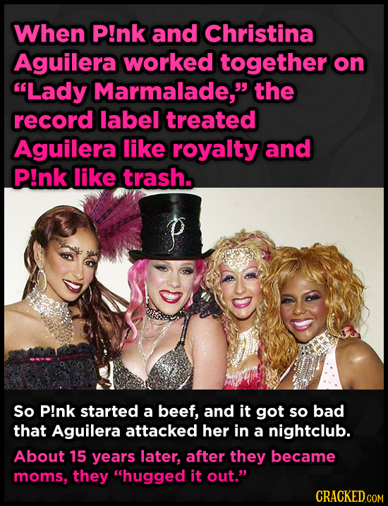 When P!nk and Christina Aguilera worked together on Lady Marmalade, the record label treated Aguilera like royalty and P!nk like trash. P So P!nk st