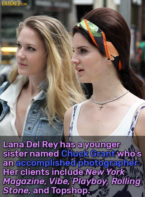CRACKEDCO COM Lana Del Rey has a younger sister named Chuck Grant who's an accomplished photographers Her clients include New York Magazine, Vibe, Pla