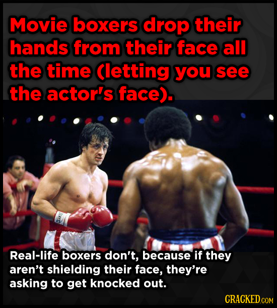 Movie boxers drop their hands from their face all the time (letting you see the actorl's face). Real-life boxers don't, because if they aren't shieldi