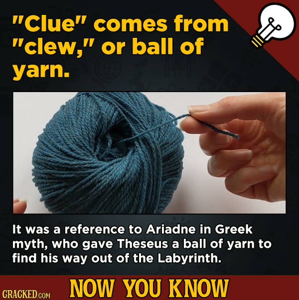 13 Fascinating Nuggets Of Movie And General Trivia - Clue comes from clew, or ball of yarn.