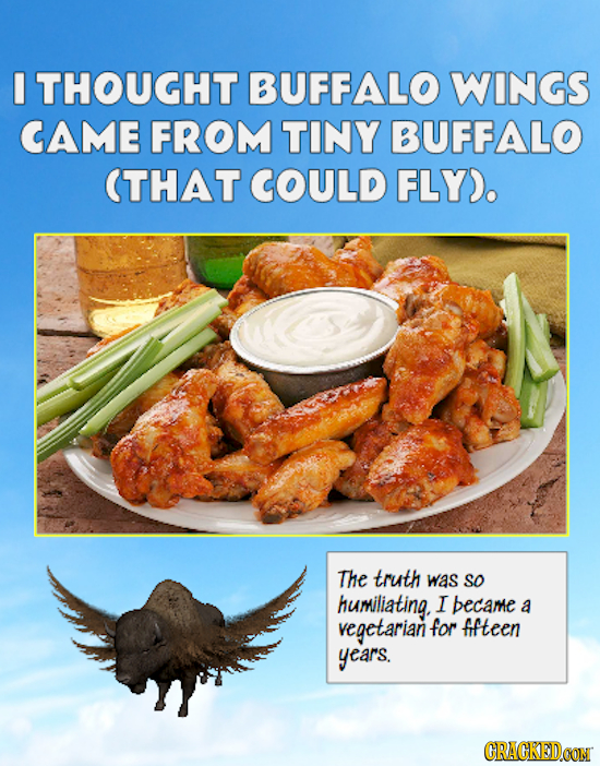 I THOUGHT BUFFALO WINGS CAME FROM TINY BUFFALO THAT COULD FLYD. The truth was So humiliating. I became a vegetarian for fifteen years. CRACKEDCON