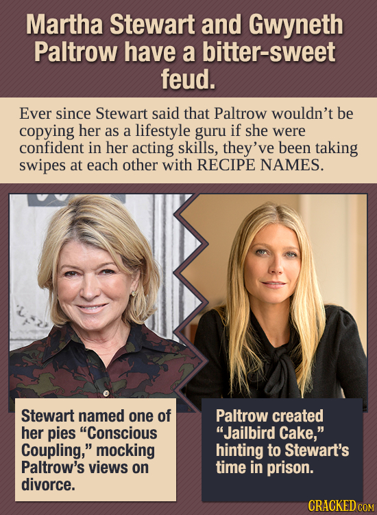 Martha Stewart and Gwyneth Paltrow have a bitter-sweet feud. Ever since Stewart said that Paltrow wouldn't be copying her as a lifestyle guru if she w