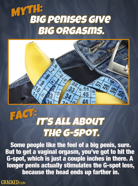 MYTH: BIG penises Give BIG ORGASmS. col 32 co 33 44 2 23 34 45 59 TalIlouio 60 24 46 FACT: IT'S ALL ABOUT THE G-SPOT. Some people like the feel of a b