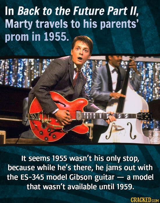 In Back to the Future Part lI, Marty travels to his parents' prom in 1955. 2 It seems 1955 wasn't his only stop, because while he's there, he jams out