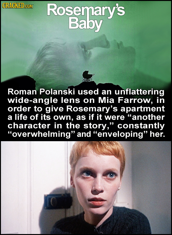 Rosemary's Baby Roman Polanski used an unflattering wide-angle lens on Mia Farrow, in order to give Rosemary's apartment a life of its own, as if it w