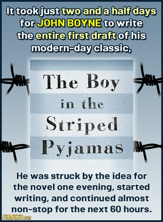It took just two and a half days for JOHN BOYNE to write the entire first draft of his modern-day classic, The Boy in the Striped Pyjamas He was struc