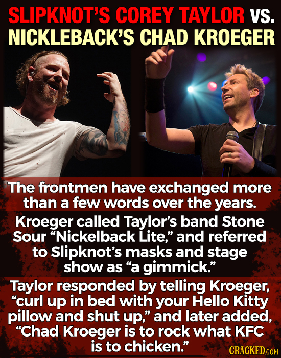 SLIPKNOT'S COREY TAYLOR VS. NICKLEBACK'S CHAD KROEGER The frontmen have exchanged more than a few words over the years. Kroeger called Taylor's band S