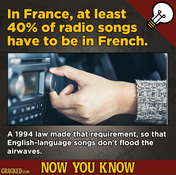 13 Fascinating Nuggets Of Movie And General Trivia - In France, at least 40% of radio songs have to be in French.
