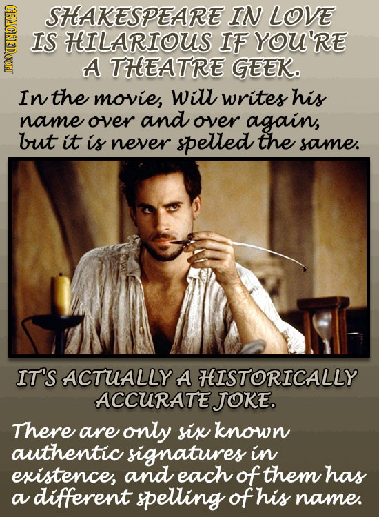 (GRACGKEDCON SHAKESPEARE IN LOVE IS HILARIOUS IF YOU'RE A THEATRE GEEK. In the movie, will writes his name over and over again, but it is never spelle