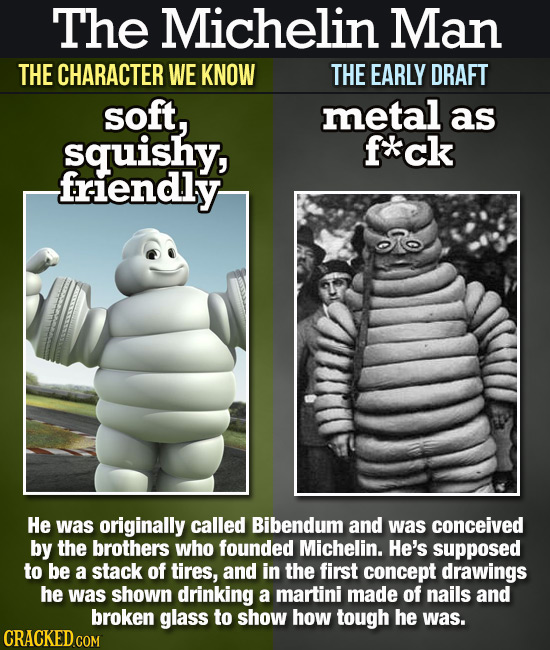 The Michelin Man THE CHARACTER WE KNOW THE EARLY DRAFT soft, metal as squishy, f**ck friendly He was originally called Bibendum and was conceived by t