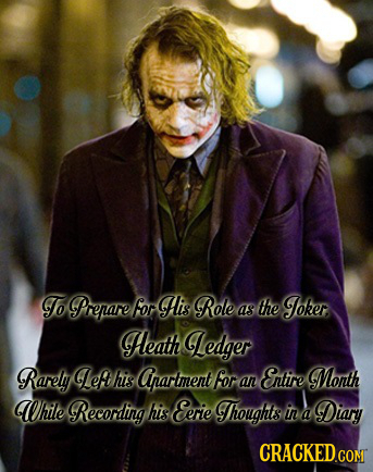 To Prepare for His Role the Joker as Heath Ledger Rarely Lef his Arartment for Entire Month an While Recording his Eerie Thoughts in Diary A CRACKED G