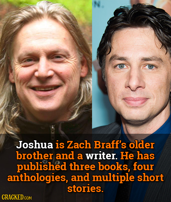 Joshua is Zach Braff's older brother and a writer. He has published three books, four anthologies, and multiple short stories.