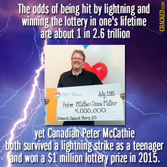 The odds of being hit by lightning and winning the lottery in one's lifetime are about 1 in 2.6 trillion CRAGh 2015 Atic 1oto July Amotique Lotery Pet