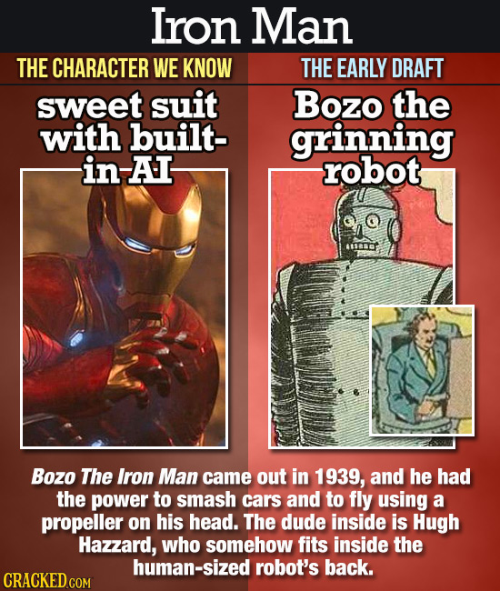 Iron Man THE CHARACTER WE KNOW THE EARLY DRAFT sweet suit Bozo the with built- grinning in-AI robot Bozo The Iron Man came out in 1939, and he had the