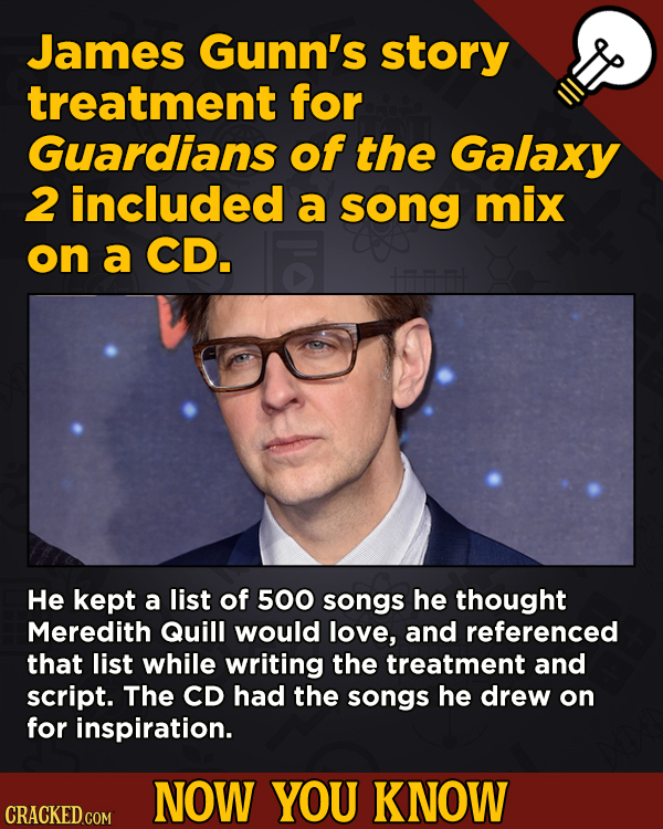 13 Fascinating Nuggets Of Movie And General Trivia - James Gunn's story treatment for Guardians of the Galaxy 2 included a song mix on a CD.