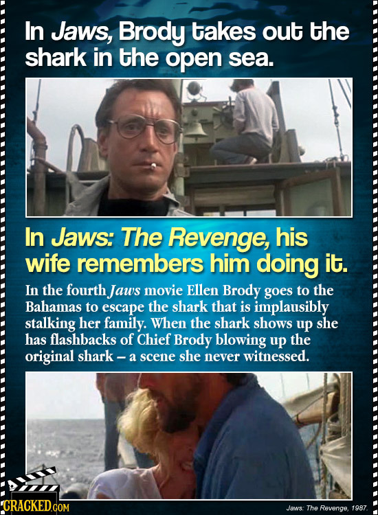 In Jaws, Brody takes out the shark in the open sea. In Jaws: The Revenge, his wife remembers him doing it. In the fourth Jaws movie Ellen Brody goes t