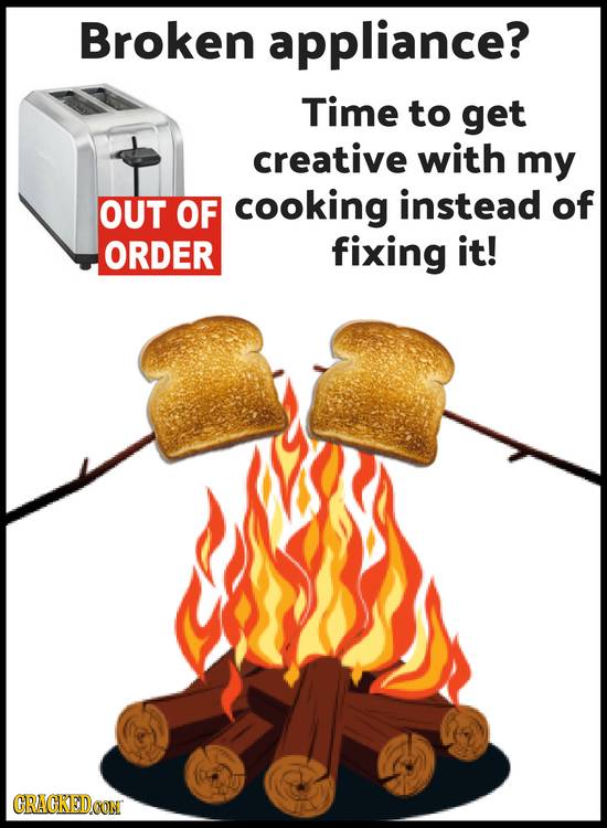 Broken appliance? Time to get creative with my OUT OF cooking instead of ORDER fixing it! CRAGKEDCON