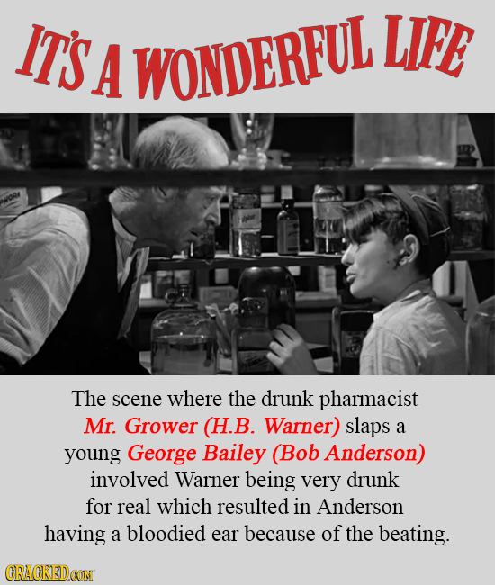 IT'S LIFE A WONDERFUL The scene where the drunk pharmacist Mr. Grower (H.B. Warner) slaps a young George Bailey (Bob Anderson) involved Warner being v