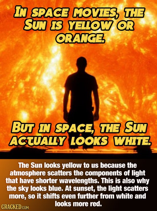 IN SPACE MOVIES, THE SUN IS YELLOW OR ORANGE BUT IN SPACE, THE SUn ACTUALLY LOOKS WHITE The Sun looks yellow to us because the atmosphere scatters the