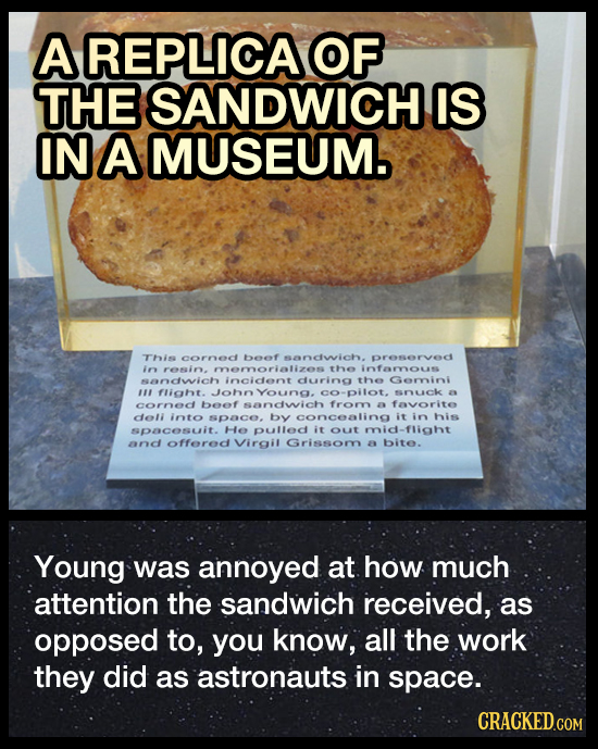 A REPLICAOF THE SANDWICH IS IN A MUSEUM. This cornec beef sandwich. preservec i resin. memorializes the infaryous sancwich incicent ciuring the Gemnin