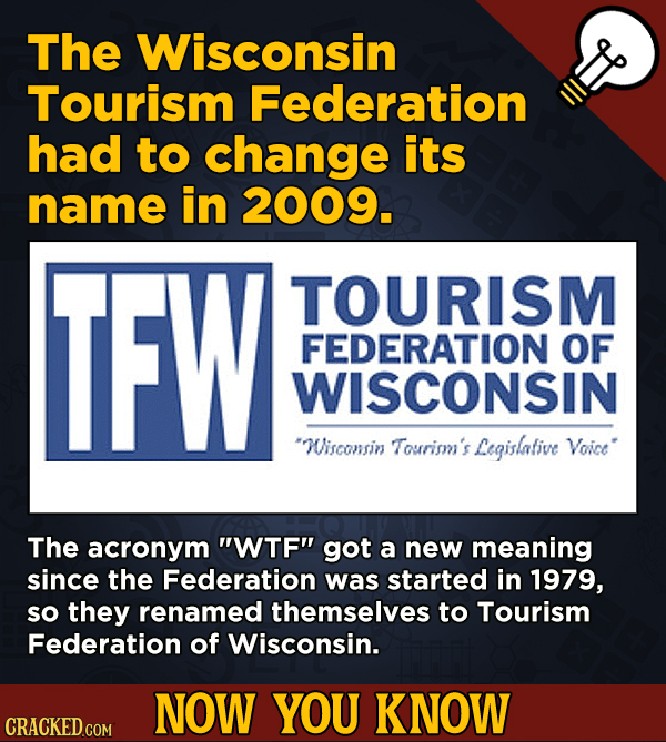 13 Fascinating Nuggets Of Movie And General Trivia - The Wisconsin Tourism Federation had to change its name in 2009.