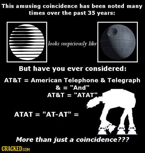 This a amusing coincidence has been noted many times over the past 35 years: looks suspiciously like But have you ever considered: AT&T: = American Te