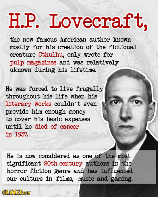 H.P. Lovecraft, the now famous American author known mostly for his creation of the fictional creature cthulhu, only wrote for pulp magazines and was
